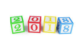 Alphabet box 2018 new year  on a white background 3D illustration, 3D rendering Stock Image