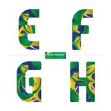 Alphabet brazil abstract style in a set EFGH. Vector graphic alphabet in a set E,F,G,H, with brazil abstract style Stock Photos