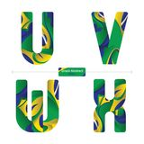 Alphabet Brazil abstract style in a set UVWX. Vector graphic alphabet in a set Q,R,S,T, with brazil abstract style Royalty Free Stock Photos
