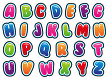 Alphabet. In bubble and bright font Stock Photography