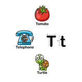 Alphabet-Buchstabec$t-tomate, Telefon, Schildkröte Lizenzfreie Stockfotografie