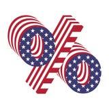 Alphabet-Buchstabeprozente USA-Flagge 3d Strukturierter Guss Lizenzfreies Stockbild