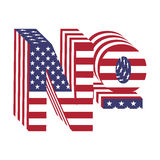 Alphabet-Buchstabezahl USA-Flagge 3d Strukturierter Guss Lizenzfreie Stockbilder