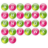 Alphabet buttons. Illustration of a set of web alphabet buttons ,or icons, isolated on white.EPS file available Stock Images