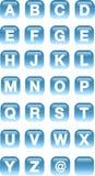 Alphabet buttons. Aqua Alphabet blue square buttons Stock Images