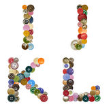 Alphabet of buttons. Alphabet of different color and metal buttons Royalty Free Stock Image