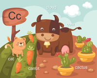 Alphabet.c. Alphabet c letter cat carrot cloud cow cactus Stock Photo