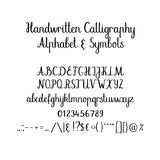 Alphabet calligraphique Police manuscrite de brosse Majuscule, minuscule, esperluète Calligraphie de mariage Photo libre de droits