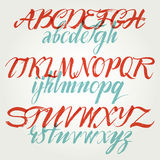 The alphabet in calligraphy brush. Royalty Free Stock Photos