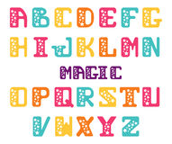 Alphabet of capital letters with stars. Star serif font. Set of letters for decoration festive posters or invitations. Stock Image