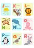 Alphabet card with animals J to R. Vector illustration, eps stock illustration