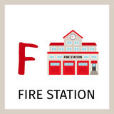 Alphabet card with fire station building. Alphabet card for kids with fire station building. Letter F card vector illustration Stock Image