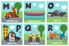 Alphabet card with transport and animals M to R. Vector illustration, eps vector illustration