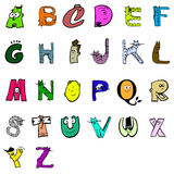 Alphabet cartoon. Complete alphabet with kittens and cute characters Stock Image