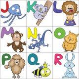 Alphabet with cartoon animals 2. Hand-drawn alphabet with cartoon animals from J to R Royalty Free Illustration