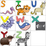 Alphabet with cartoon animals 3. Hand-drawn alphabet with cartoon animals from S to Z Stock Photography
