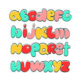 Alphabet cartoon children's. Hand lettering ABC. Funny varicolored alphabet.Urban style.Street basis font Stock Photography