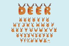 Alphabet cartoon design, deer style. Letters, numbers and punctuation marks. Font vector typography. EPS 10. Alphabet cartoon design, deer style. Letters royalty free illustration