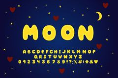 Alphabet cartoon design, moon style. Letters, numbers and punctuation marks. Font vector typography. EPS 10. Alphabet cartoon design, moon style. Letters vector illustration
