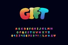 Alphabet cartoon design. Rainbow style. Letters, numbers, punctuation marks. Font vector typography. EPS 10. Alphabet cartoon design. Rainbow style. Letters vector illustration