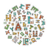 Alphabet cartoon house Stock Photo