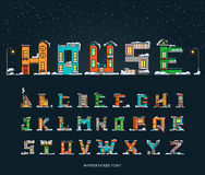 Alphabet cartoon winter house, font Royalty Free Stock Images