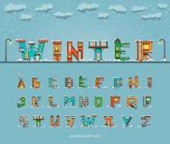 Alphabet cartoon winter house, font Stock Photos