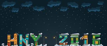 Alphabet cartoon winter house, hny Royalty Free Stock Photography