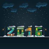 Alphabet cartoon winter house, hny 2016 Royalty Free Stock Photos