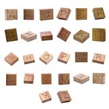 Alphabet carvings on Wood block., Clipping paths. 28/02/2018 Stock Photography