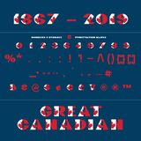 Alphabet for celebration design 1 th july in National canada flag style font on dark blue background with text Great Canadian. Vector illustration. Canada royalty free illustration