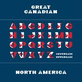 Alphabet for celebration design 1 th july in National canada flag style font on dark blue background with text Great Canadian. Vector illustration. Canada stock illustration