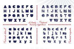 Alphabet for celebration design 4 th july in vintage style on white background with text. Stock Photos