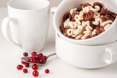Alphabet cereal with ripe сranberries Royalty Free Stock Photography