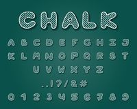 Alphabet chalk design. Typeface clip art. Uppercase letters, numbers and punctuation marks. Font vector typography. Hand drawn. EP. Alphabet chalk design royalty free illustration