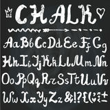 Alphabet.Chalk Hand drawn letters.Chalkboard. Vector Chalk alphabet.Hand drawn letters.English Letters  written with brush,artistic sketch.Sign,border,swirl set Royalty Free Stock Images
