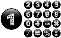 Alphabet Chalk Numbers in shiny Black Buttons Royalty Free Stock Photo