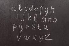 Alphabet on a chalkboard Royalty Free Stock Photos