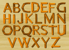 Alphabet characters from A to Z in wooden pattern. Illustration Stock Photo