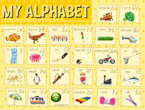 Alphabet chart with letters and words Royalty Free Stock Image
