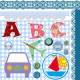 Alphabet on checkered background Royalty Free Stock Images