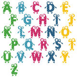 Alphabet cheerful. Cheerful colorful alphabet with eyes, hands and kicking Stock Images