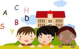Alphabet children. Illustration of cute alphabet children Royalty Free Stock Image