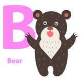 Alphabet for Children B Letter Bear Cartoon Icon Stock Photography