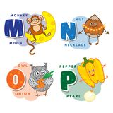 Alphabet Children Colored letter M N O P Royalty Free Stock Photos