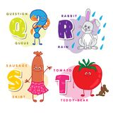 Alphabet Children Colored letter Q R S T. Depicting an question, rabbit, sausage and tomato. Vector alphabet Stock Photography