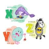 Alphabet Children Colored letter X Y Z. Depicting an hiphias, yeti and zebra. Vector alphabet Stock Photo