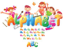 Alphabet with children. Funny Alphabet with children. ABC stock illustration