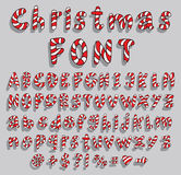 Alphabet with christmas candy cane font Stock Image