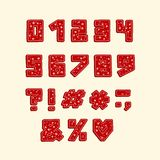 Alphabet Christmas design. Numbers and punctuation marks. Hand drawn vector illustration. EPS 10. Alphabet Christmas design. Numbers and punctuation marks. Hand vector illustration